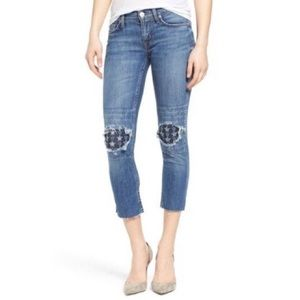 Hudson 'Muse' Ripped & Repaired Crop Skinny Jeans